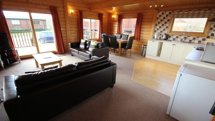 Rutland Lodges, large open plan living space with decking