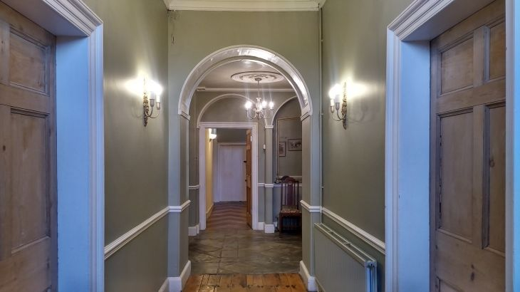 The Halls from the reception rooms looking down to the small groundfloor bedroom