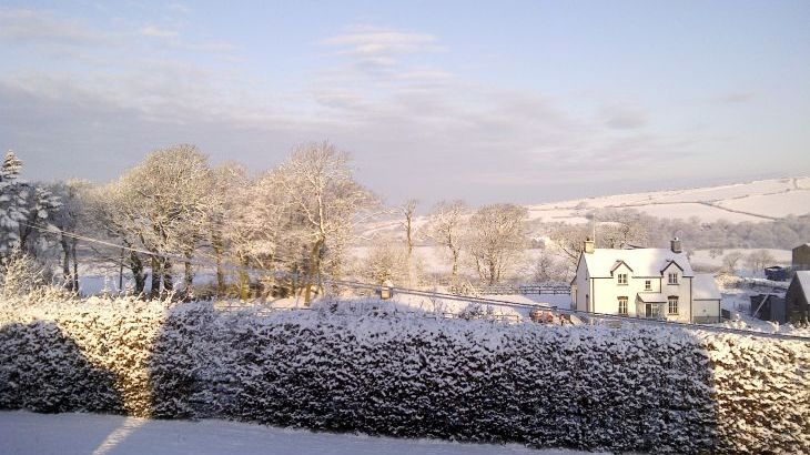 Hafod Grove House in winter View from an upstairs window
