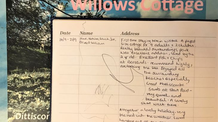 Willows Cottage Guest Book at Dittiscombe, South Devon