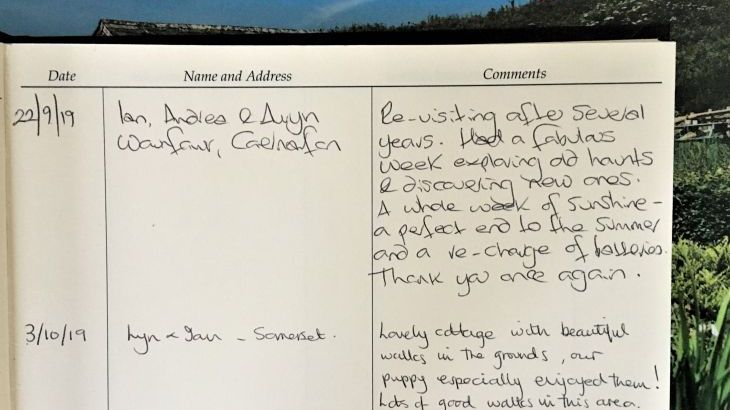 Guest book at Dittiscombe Hills Estate & Cottages