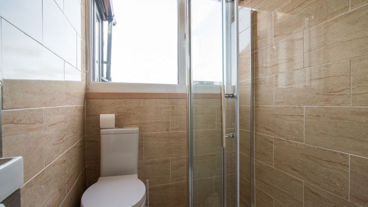 The shower room on the top floor