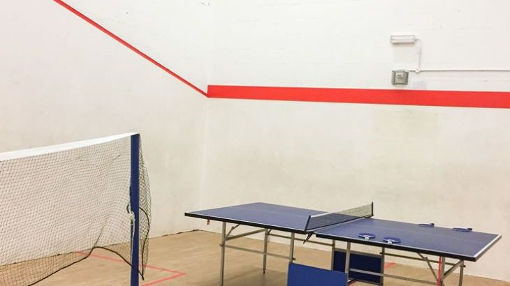 Squash court with table tennis and badminton