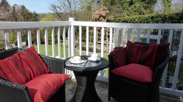 Beautiful views over the garden & Claife Heights from your balcony