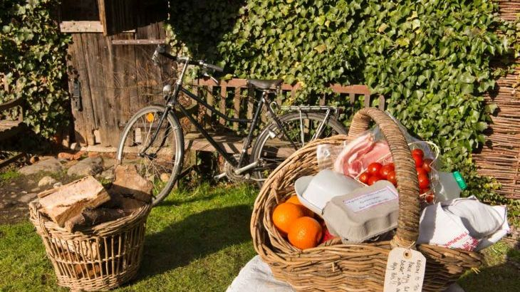 you get this lovely breakfast basket, logs and bikes