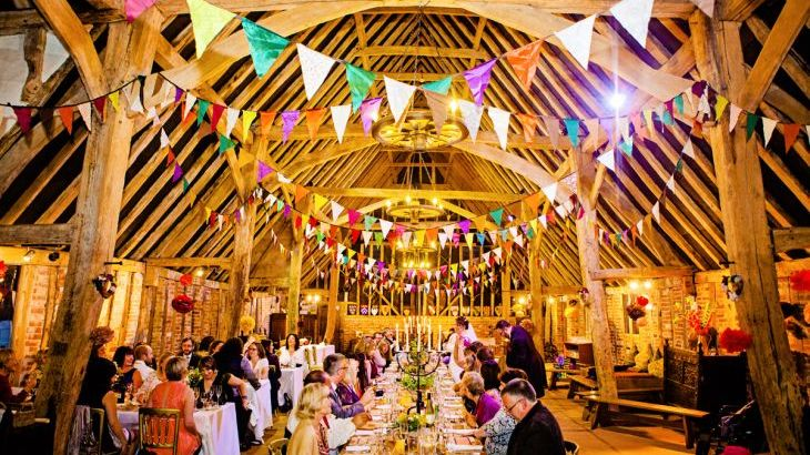 Wedding party in Tudor barn