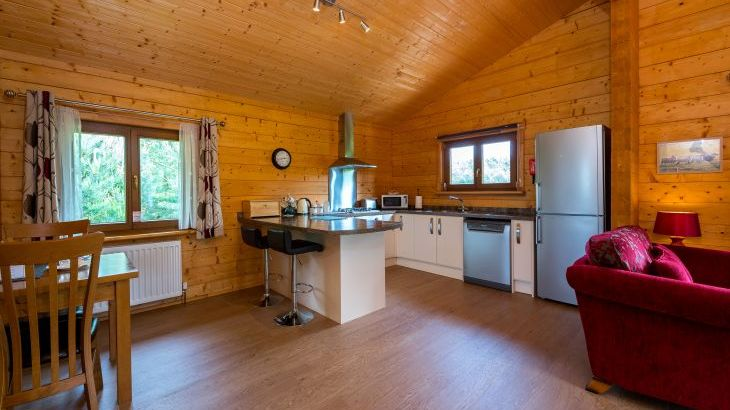 Open plan lodge interiors for self-catering fishing breaks in east midlands