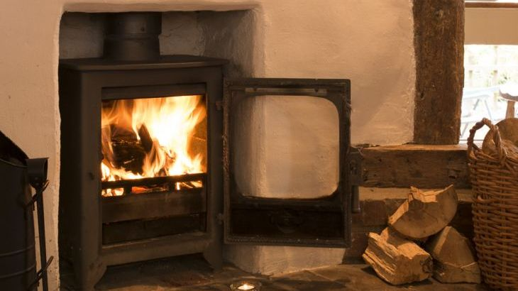 Roaring open log fire