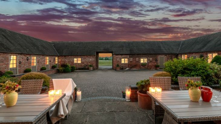 Upper Rectory courtyard at dusk